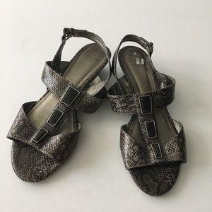 "Circa Joan& David snakeskin 2"" wedge heel sandal"